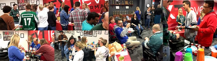 employees engaged over hearty homecooked chilis