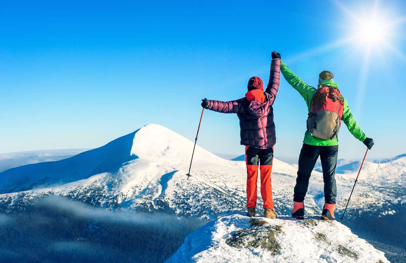 To hikers reaching the summit
